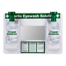 PİTDROP Eyewash Station  İkili Göz Yıkama Duşu Duvar Panosu Aparatlı 2*500ml Sodium Cloride 0,9%.