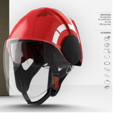 PAB FIRE COMPACT İtfaiyeci Bareti Vizörlü Renk Kırmızı Dış Katman Komple Reflektörlü