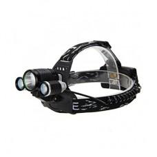 Kafa Feneri Şarjlı T6 Cree5 3 Başlı Kafa Feneri