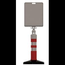 UT 6007 Dubalı Reklam ve Uyarı Dikmesi Ø110*650MM Kauçuk Tabanlı +Tabelalı